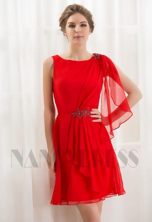 f7a175911cc robe cocktail rouge feu courte D059