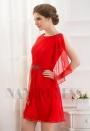 robe cocktail rouge feu courte D059