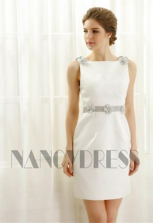 robe de cocktail blanc courte D057