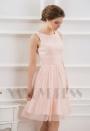 robe de cocktail rose courte D069