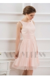 robe de cocktail rose courte D069