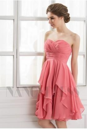 robe de cocktail rose poudre bustier courte D064