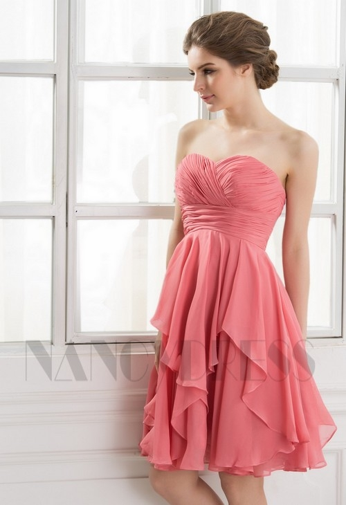 Robe bustier cocktail rose