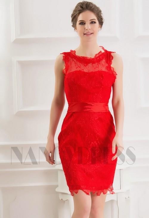 45cee2f1f8f robe de cocktail rouge feu Lace courte D073