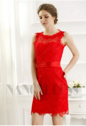 robe de cocktail rouge feu Lace courte D073
