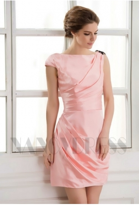 robes de cocktail rose courte D066