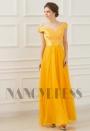 robe de soirée jaune long H049