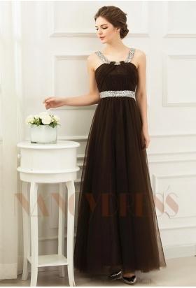 robe de soirée marron en tulle long