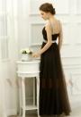 robe de soirée marron en tulle long H080