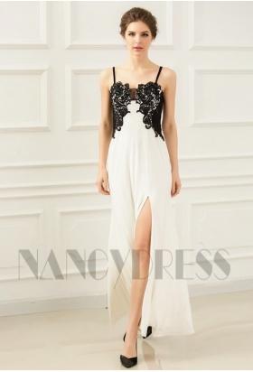 robe de soirée longue blanc et black Lace