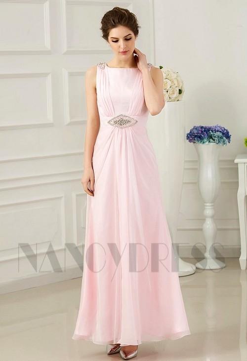 robe de soirée longue rose H077