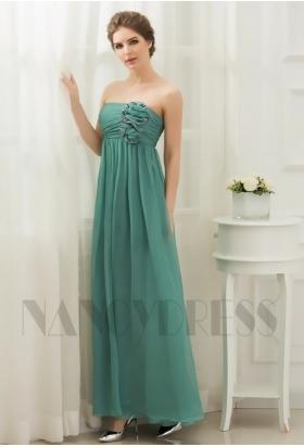 robe de soirée longue vert bustier long H071