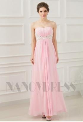 robe de soirée pas cher rose bustier long H069