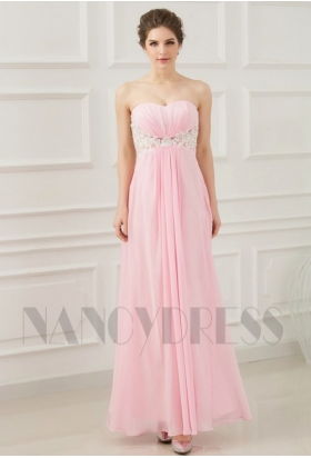robe de soirée pas cher rose bustier long