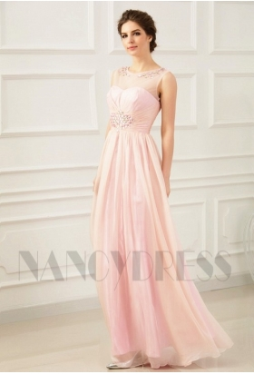 robe de soirée pas cher rose long H076