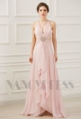 robe de soirée rose long H072