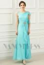 robe soirée bleu clair long H058