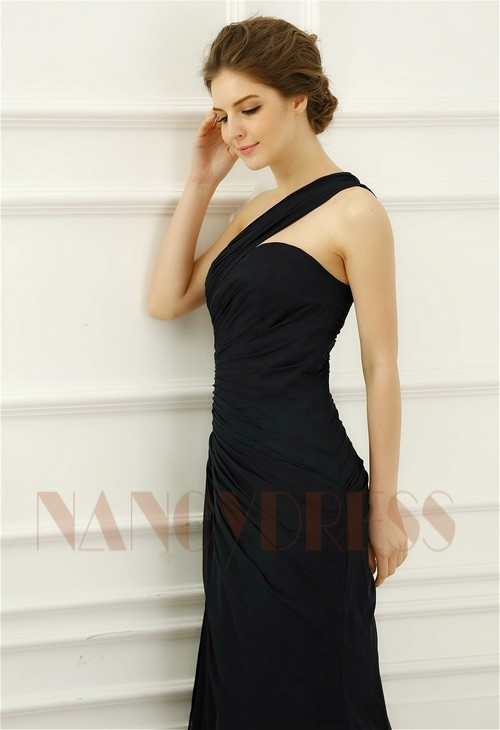 robe soirée bleu marine long H065
