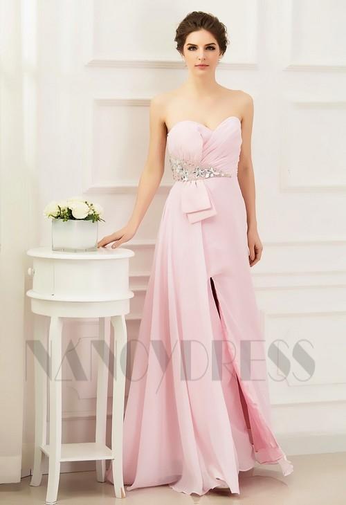 robe soirée rose bustier long H081
