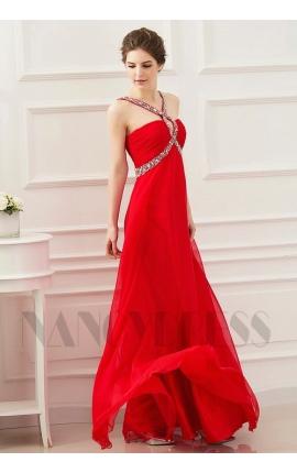 robe soirée rouge feu long