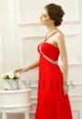 robe soirée rouge feu long H073