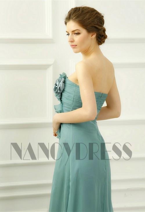 robe soirée vert long H050