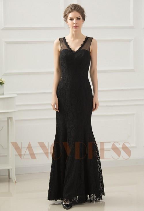 robes de soirée pas cher black Lace long H055