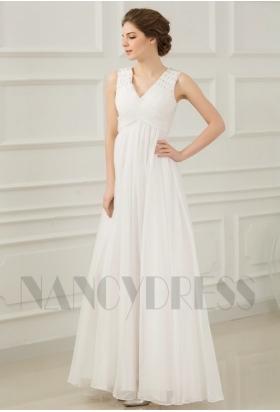 robes de soirée pas cher blanc long H070