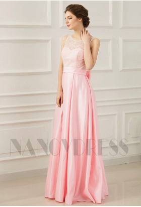 robes soirée rose long H075