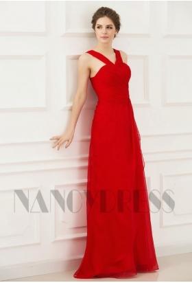 robes soirée rouge feu long H083