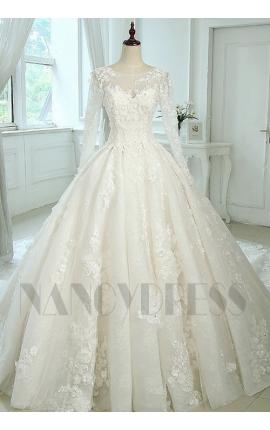 robe de mariage princesse manches longues