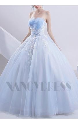 robe de marié princesse bleu turquoise