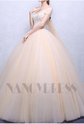 robe mariée HS004 champagne pâle