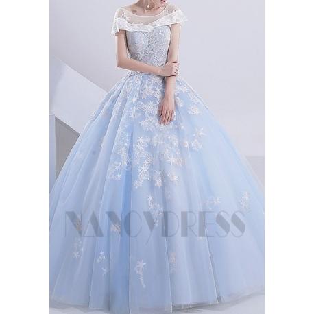 robe mariée bleu turquoise avec cape