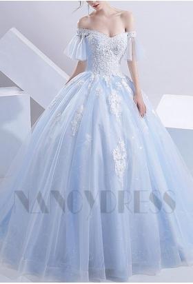 robes de mariée bleu turquoise