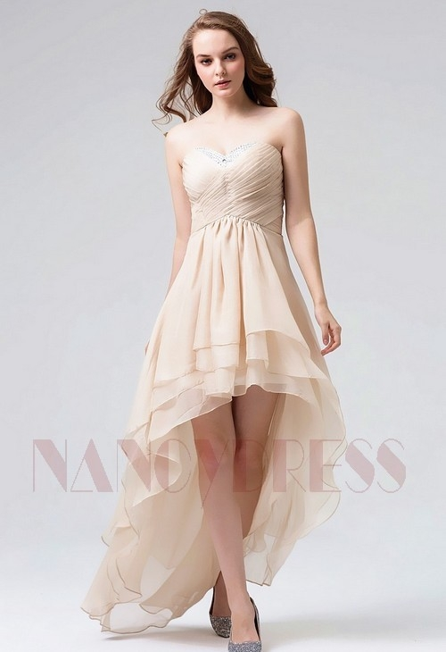 robe bustier Champagne courte D088
