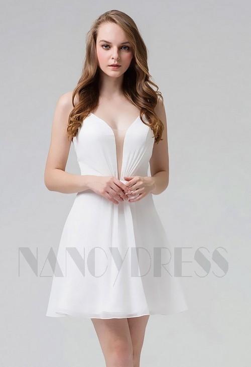 87d91c3233285 Robe de cocktail blanche courte tissu mousseline