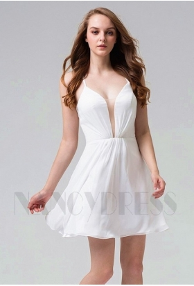 robe cocktail blanc courte D098