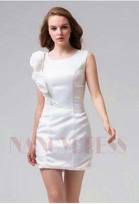 robe cocktail blanc courte D083