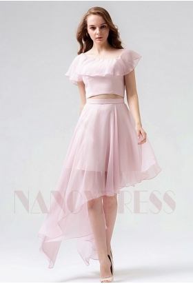robe cocktail rose courte D074