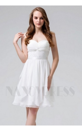 robe de cocktail blanc courte bustier