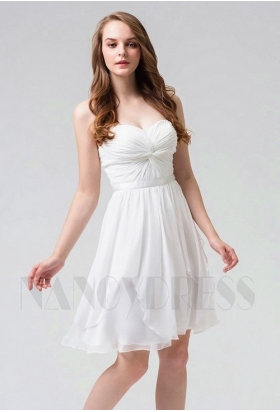 robe de cocktail blanc courte D091