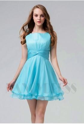 robe de cocktail bleu turquoise courte D100