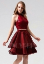 robe de cocktail bordeaux courte D084