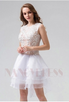 robe de cocktail blanc courte D075