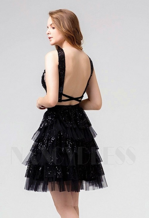 robe de cocktail noire courte D078