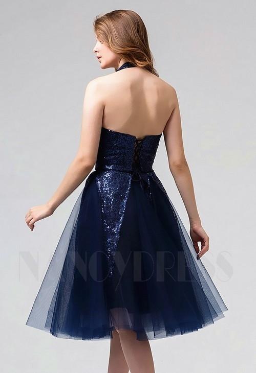 robe dos nu bleu marine courte D077