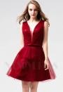 robe habillée bordeaux courte D086