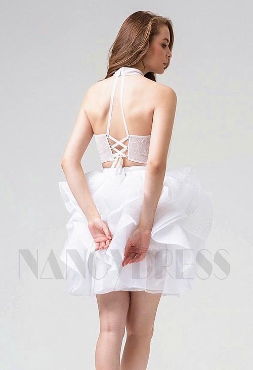robe sexy blanc courte D0104