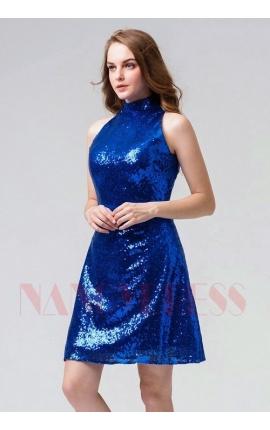 robes cocktail bleu roi courte